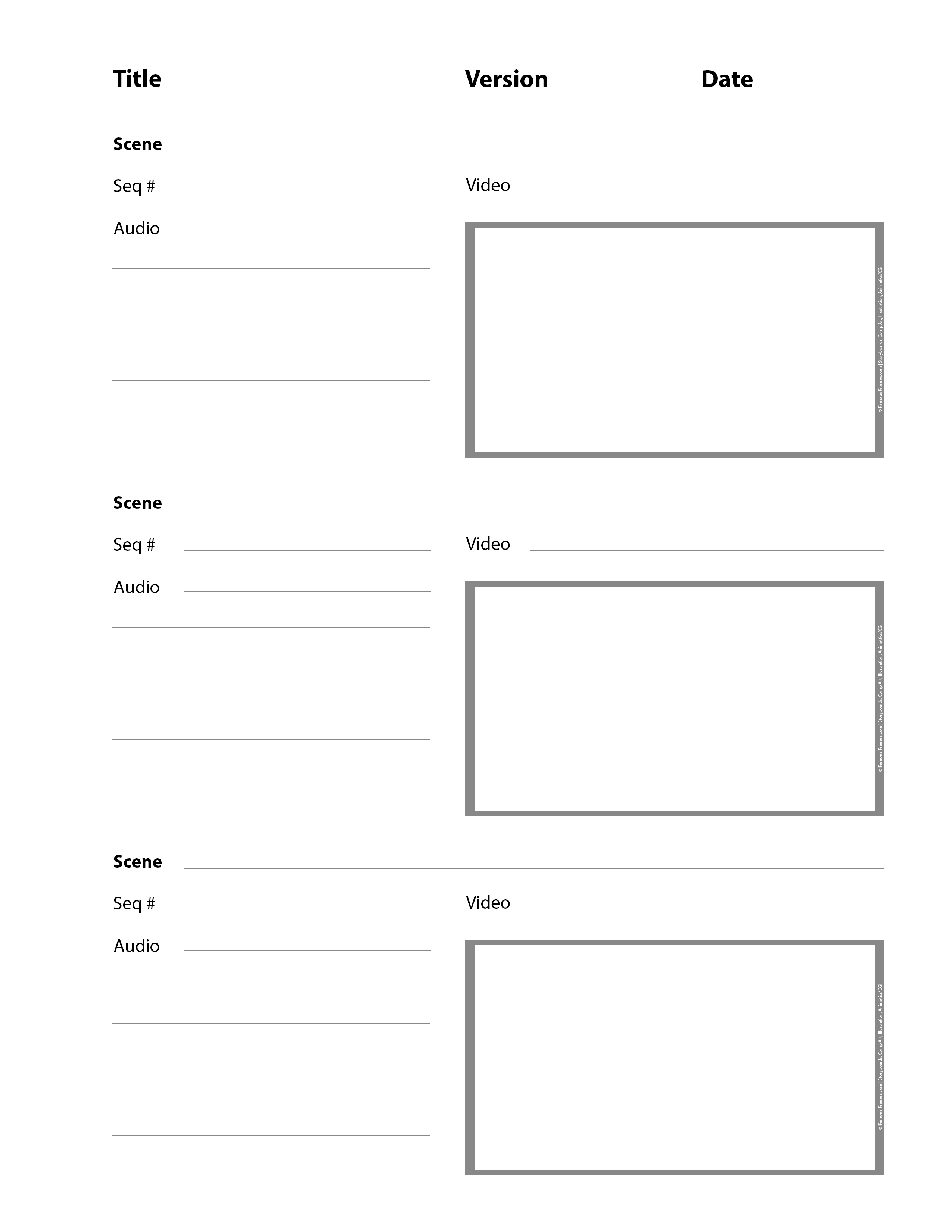 3 Panel Storyboard Template - Storyboard Artists
